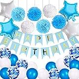 VSTON Bannière Joyeux Anniversaire pour Garçons Filles, Packs de décoration de fête Blancs et Bleus pour Enfants Adultes pour Enfants