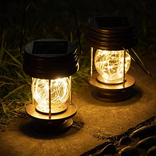 Linternas solares para colgar al aire libre - Paquete de 2 luces de paisaje impermeables Lámparas de mesa solares con diseño retro LED cálidos Luces de hadas para interiores