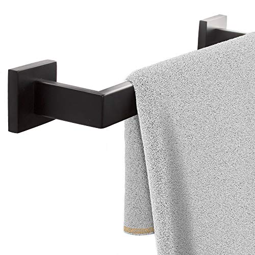 ECENCE Handtuchstange für Wandmontage, Handtuchhalter mit Schrauben in Schwarz, Badetuchhalter quadratisch aus Edelstahl 40cm Schwarz