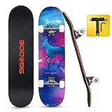 SGODDE Completo Skateboard para Principiantes, 80x20 cm Monopatín Skateboard, 31'' Skateboard 7 Capas Monopatín de Madera de Arce Canadiense,con Rodamiento ABEC-7 y Rueda de 95 A para Niña,Niño,Adulto