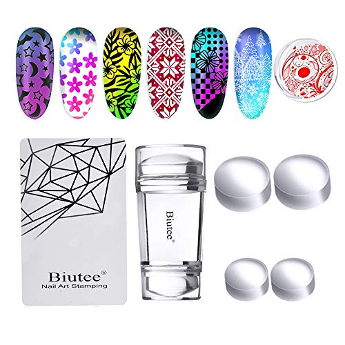 Biutee Dual Clear Jelly Nail Art Stamper 4Pcs Silicone Heads with...