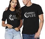 Shirts de Couple Partenaire T-Shirts pour Amoureux Tee Shirt Imprimé Sun Moon T-Shirt Soleil Lune Cadeau de Saint Valentin Amour Tops 2 Pièces Coton (Noir+Noir,Moon-S+Sun-S)
