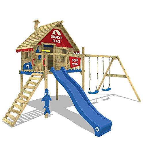 WICKEY Parco giochi in legno Smart Sky Giochi da giardino con altalena e scivolo, Casetta su palafitte da gioco per bambini