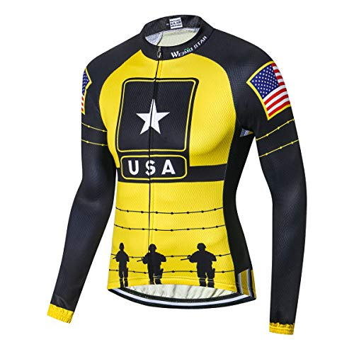 USA Flag Star Men Cycling Jersey Top Long Sleeve Bicycle Jacket Bike Clothing Breathable Black Yellow Size L