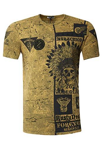 Camiseta de manga corta para hombre, diseño de calavera lavada al aceite,...