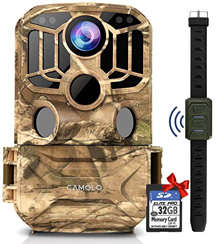 CAMOLO WiFi Trail Camera 24MP 1296P with 32 GB SD Card, Wildlife Camera with Infrared Night Vision Motion Activated IP67 Waterproof Hunting Camera for Wildlife Monitoring and Home Security