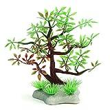 WFAANW Plástico Mini Realista árbol Acuario Betta Tanque Pecera Paisaje de la decoración w/Stand