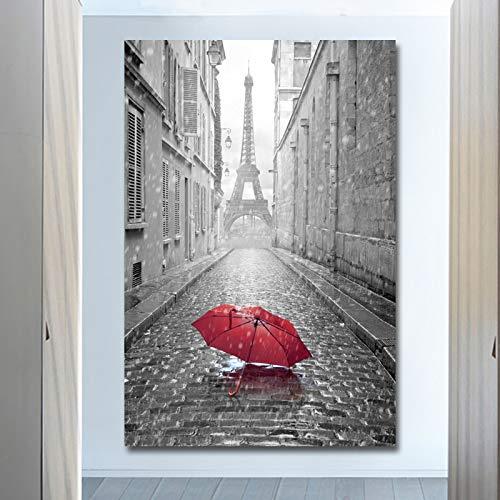 Frameloos Eiffeltoren en rode paraplu canvas schilderij moderne kunst aan de muur poster en prints foto huisdecoratie voor de woonkamer <> 50x75cm