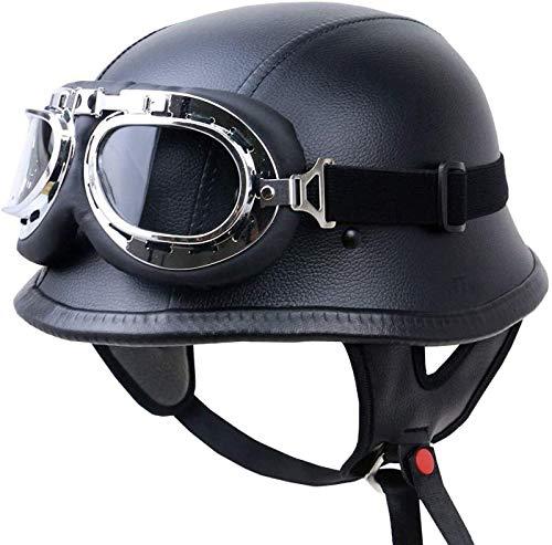 EBAYIN Cascos Half-Helmet Cascos Abiertos Brain - Cap Retro Harley Motocicleta Medio Abierto Casco ECE Cruiser Chopper Piloto Piloto Casco con Gafas Gorra Colisión Seguridad,A-XXL=(63~64cm)