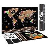 Carte du Monde à Gratter + Carte Europe - Carte du Monde Détaillée (59,3X42 cm) avec Kit...