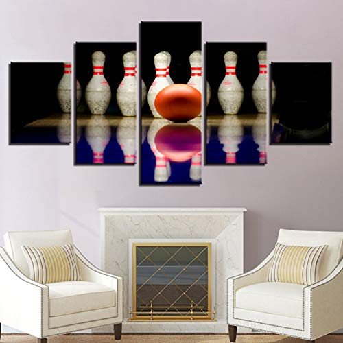 ZXCVWY Kunstdruck auf Leinwand, Motiv Bowlingkugel mit 5 Teilen, für Wohnzimmer, Heimdekoration