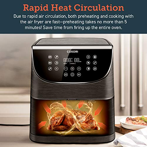 COSORI Air Fryer Oil Free,Chip Fryer Oven XXL 5.5L/1700W with 11 Cooking Presets,Preheat& Shake Reminder Function,LED Digital Touchscreen,Timer and Temperature Control,Nonstick Basket,Free Recipe Book