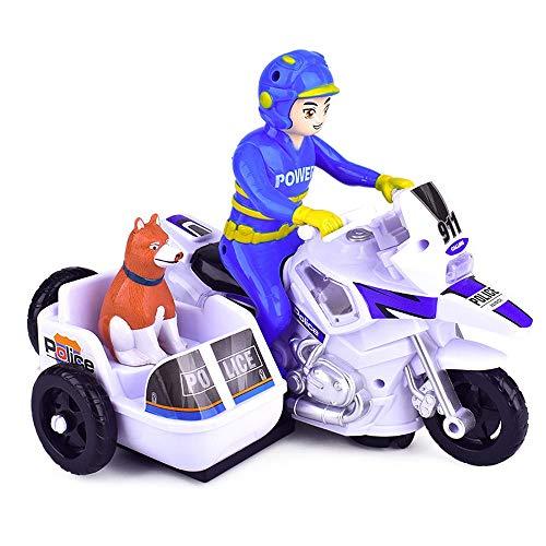 Motocicleta de patrulla de la policía, motocicleta eléctrica de dos plazas con luces y sonidos, juguete de triciclo, personaje de dibujos animados y perro, regalos de motos para niños y cumpleaños de