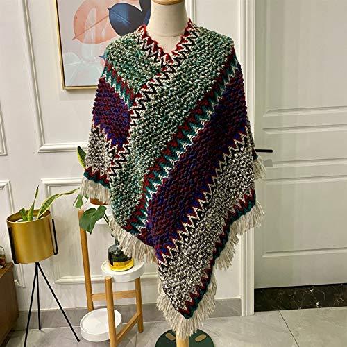 ZHUANYIYI Ethnischer Umhang Gestrickter Pullover Schal Nachahmung Wolle Quaste Schal Damen Warme Decke 80 * 100cm (Color : 7)