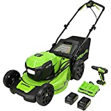 Get Greenworks 2 x 24V (48V) 20-Inch Brushless Self-Propelled Mower (2) 5Ah USB Batteries and Dual Port Rapid Charger + 24V Brushless Drill / Driver, MO48L4211-D Just for $499.00