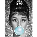 5D-Diamant-Malerei nach Zahlen, Kristall-Strass-Stickerei, Gemälde, Kunsthandwerk für Zuhause, Wanddekoration, Audrey Hepburn, 30 x 40 cm