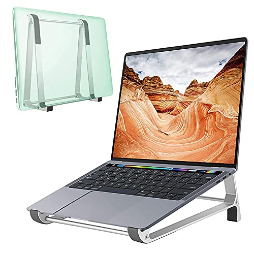 Soporte para ordenador portátil, 2 en 1, soporte vertical de aleación de aluminio, elevador ergonómico para tableta compatible con MacBook Air/Pro Dell HP Lenovo, más portátiles de 10 a 17 pulgadas
