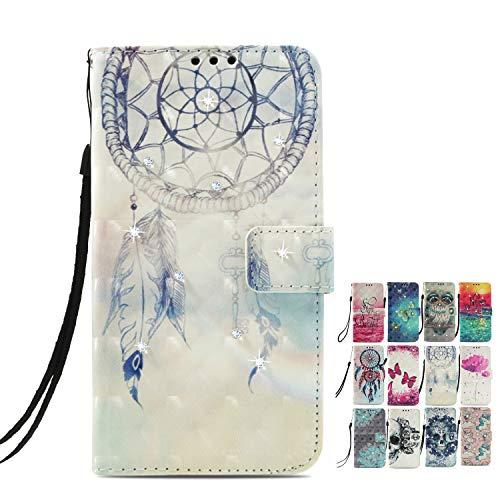 LA-Otter Kompatibel für Sony Xperia L3 Hülle Glitzer Diamant Traumfänger Leder Wallet Cover Tasche Handyhüllen mit Kartenfach Schutzhülle Flip Case