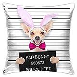 Funda de cojín de Pascua para perro de Chihuahua con diseño cuadrado y texto en inglés 'Pink Crime Very Bad Chihuahua' para sofá de interior y coche