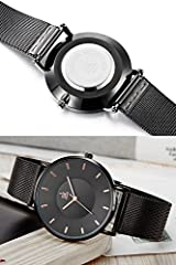 SK Fashion Women Watches Silver Stainless Steel Quartz Wristwatch Clock Ladies Bracelet Watches (0059 Black) #4