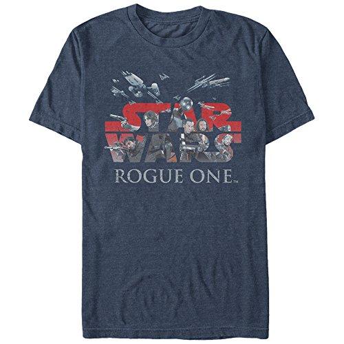 Star Wars Men's Rogue One Hero Logo Graphic T-Shirt, Navy Heather, L