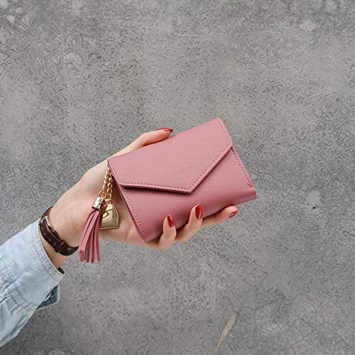Cartera de las mujeres lindo estudiante borla colgante tendencia pequeña moda PU cartera 2020 monedero mujeres señoras tarjeta bolsa para las mujeres, rosa oscuro (Rosa) - 6915698457804