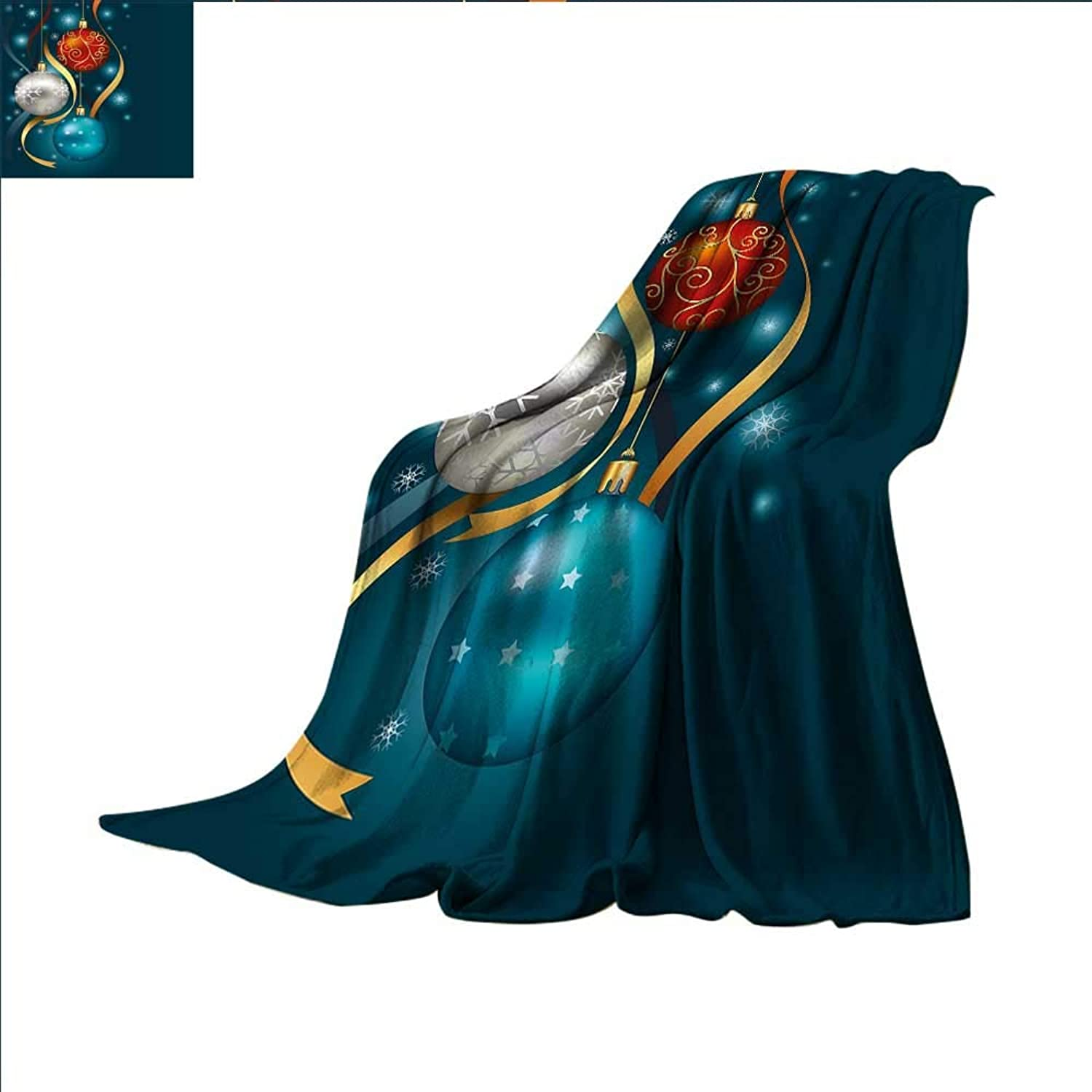 Smallbeefly Christmas Digital Printing Blanket Vivid Classical Baubles with Ribbons and Different Patterns Abstract Summer Quilt Comforter 60 x50  Petrol bluee Grey Red