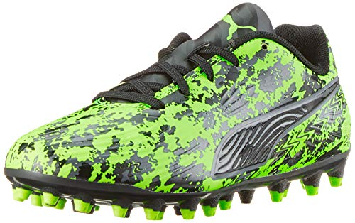 Puma One 19.4 MG Jr, Zapatillas de Fútbol Unisex Niños, Verde (Green Gecko Black-Charcoal Gray), 38 EU