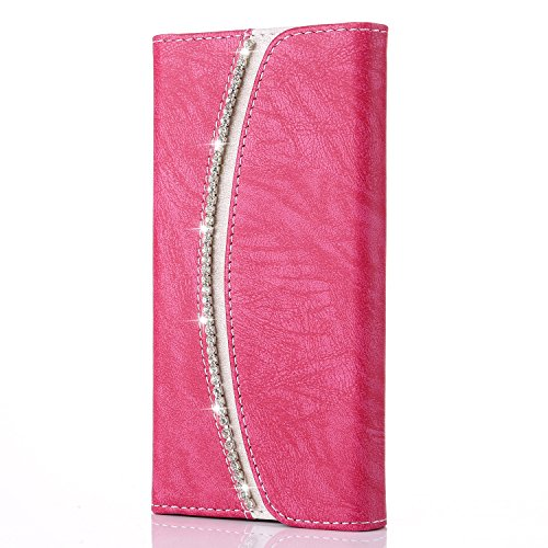 iPhone 5C Case,Bling Bling Luxury Crystal Diamond [Rhinestones] Flip PU Leather Case,[Stylish Handbag] with Magnetic Wallet Card Silicone Cover for iPhone 5C - Pink