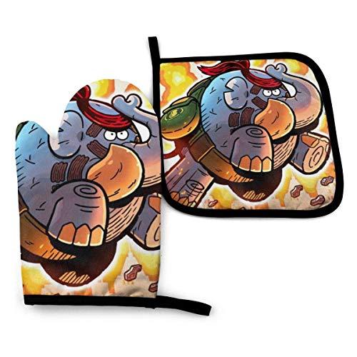 Hdadwy Ofenhandschuhe und Topflappen-Sets Tembo The Badass Elephant Ofenhandschuhe, Wärmeisolationshandschuhe, Ofenhandschuhe, lebensmittelechter Ofenhandschuh