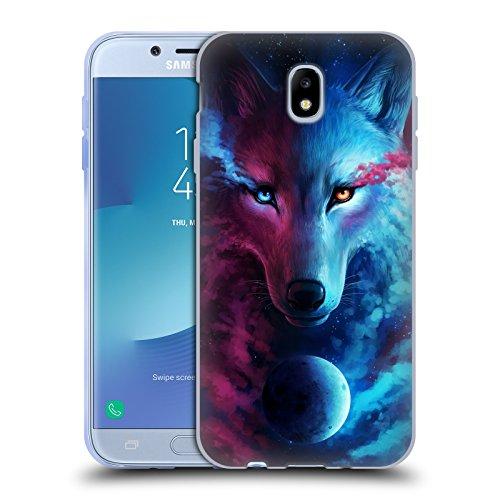 Head Case Designs Licenza Ufficiale Jonas JoJoesArt Jödicke Lupo Galassia Animali Selvatici Cover in Morbido Gel Compatibile con Samsung Galaxy J7 2017 / PRO