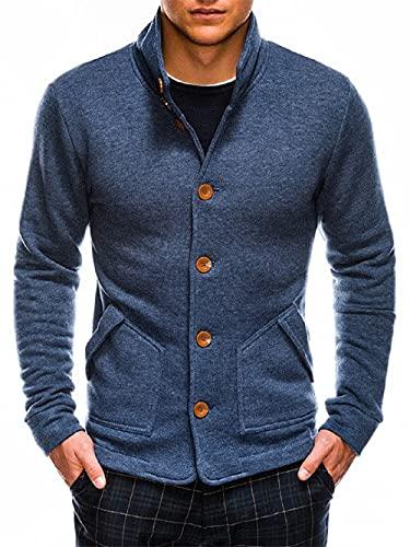 Ombre Veste sweat pour homme - Avec col montant et boutonnière - Tailles S à XL - 6 couleurs - 100 % coton, denim, XL