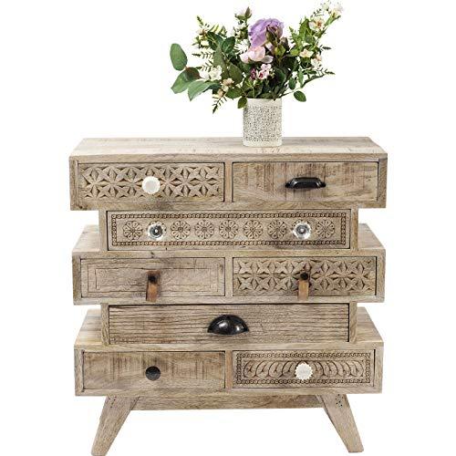 Kommode Puro Butterfly, schmales, modernes Sideboard, Kommodenschrank mit 8 Schubladen, beige (H/B/T) 60x65x30cm