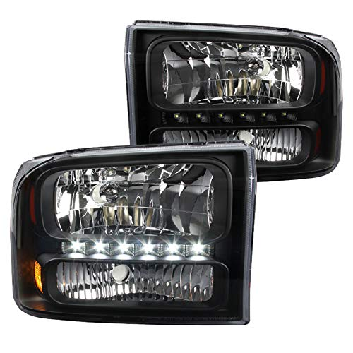 Spec-D Tuning for Ford F250 F350 Superduty Excursion US 1-Piece Black Clear LED Headlights