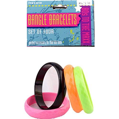 80's 4pc Bracelet Set. Black and Neon Colors