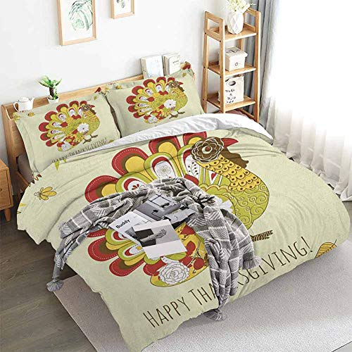 Turkey Duvet Cover Set,Turkey with Various Flowers and Swirls Symbol of Harvest Season Illustration Festive,Decorative 3 Piece Bedding Set with 2 Pillow Shams,California King(104'x98') Multicolor