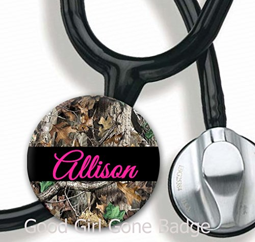 Stethoscope Tag - Pink Camo - Personalized Name - Steth ID Tag