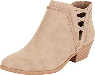 Cambridge Select Women's Western Whipstitch Side Cutout Crisscross Stacked Chunky Block Low Heel Ankle Bootie