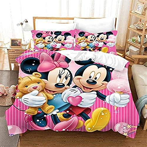ZHYINA Disney Mickey & Minnie Mouse,Mickey Mouse ropa de cama infantil funda nórdica 135 x 200 cm con 1 funda de almohada 80 x 80 cm (A01,220 x 240 cm +80 x 80 cm x2)