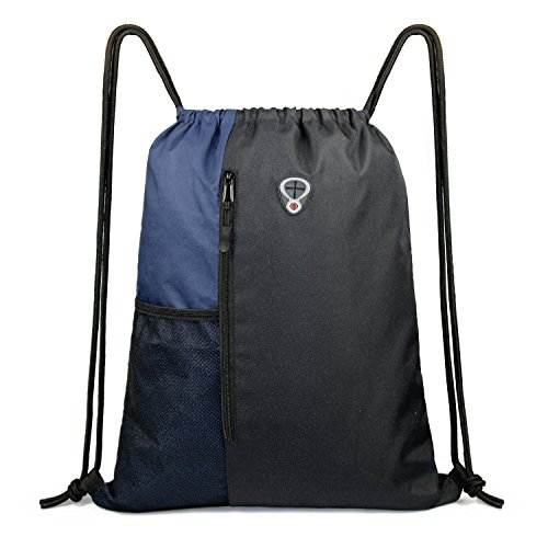 Drawstring Backpack Sports Gym Bag for Women Men Children Large Size with Zipper and Water Bottle Mesh Pockets (Black/Navy)