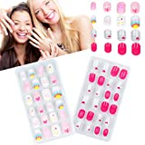 48 Pieces Girls Press on Nails, Pre Glue Full Cover Children...