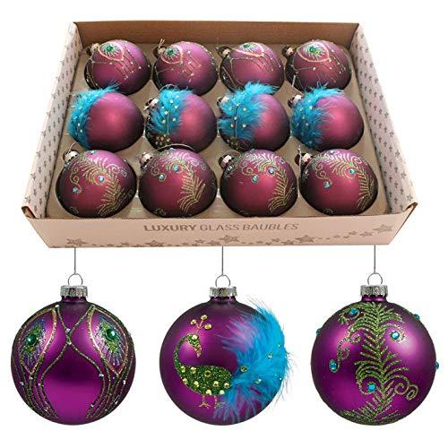 Doos van 12 80mm glas kerstboom Baubles - paars Pauw met edelstenen