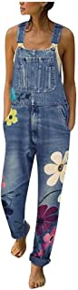AOGOTO Donna Denim Bib Tute Casual Stampa floreale Lungo Tutine Strappy Cinturino Regolabile Caviglia Harem Jeans