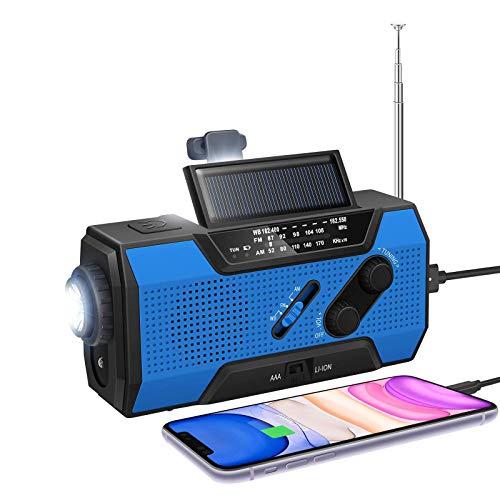 LIUDOU Emergence Wetter Solar Crank AM/FM NOAA Radio Mit Portable 2000Mah-Netzbank, Helle Taschenlampe Und Leselampe Für Den Notfall