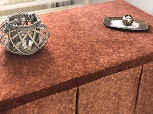 INUSUAL Falda o Ropa de Camilla Rectangular Invierno 120X70X72 Modelo IBI, Textura Suave Satinado Efecto mármol (Cobre)