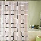MIWANG wasserdichte Mehltau-Proof verdickt das Gitter Badezimmer Duschvorhang mit Kupfer Schnalle aus Metall Haken (15 Kabel), 2.2X1.8m hohe