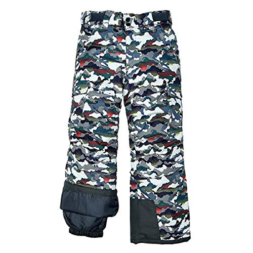 Arctix Kids Snow Sports Cargo Snow Pants with Articulated Knees, White Multi Camo, Medium