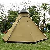 F&zbhzy Zelt Familien-Campingzelt Ultraleichtes Aluminiumzelt mit Stangen Wasserdichtes Tipi-Zelt mit großem Pavillon-Sonnenschutz 3-4 Personen, gelb