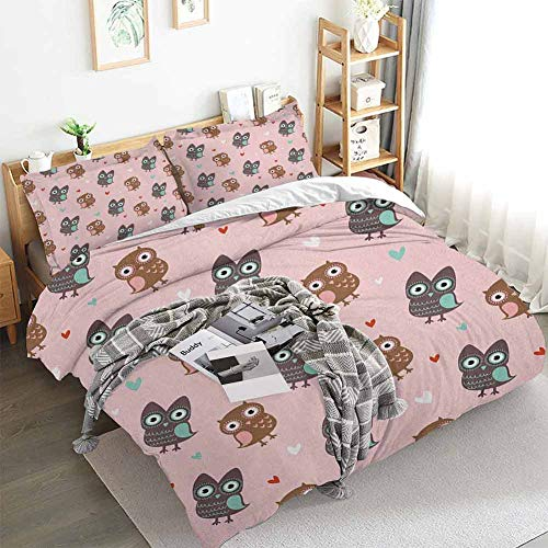 Nursery Duvet Cover Set,Love Owls with Mini Valentines Hearts Surrounding Them on a Rose Print,Decorative 3 Piece Bedding Set with 2 Pillow Shams,California King(104'x98') Rose Brown Dried Rose