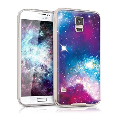 kwmobile Hülle kompatibel mit Samsung Galaxy S5 / S5 Neo - Handyhülle - Handy Hülle Space Mehrfarbig Pink Schwarz